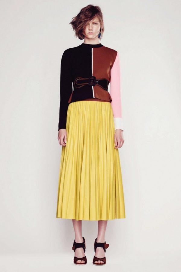 юбка плиссе с чем носить: длинная желтая