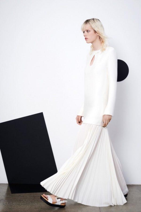 юбка плиссе с чем носить: длинная белая