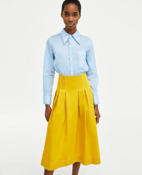 юбка плиссе с чем носить: желтая ниже колена