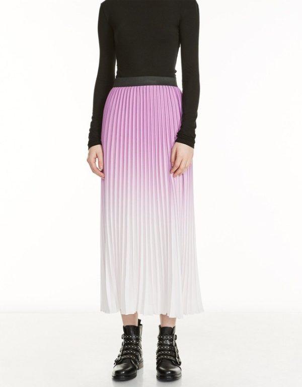 юбка плиссе с чем носить: бело-розовая длинная фиолетовый градиент