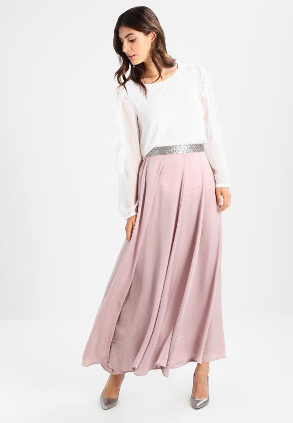 юбка плиссе с чем носить: розовая длинная