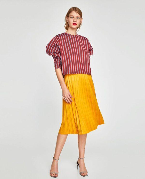 с чем носить юбку плиссе: желтая миди до колена