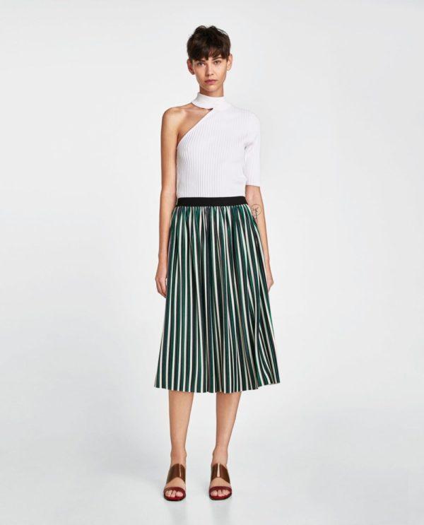 юбка плиссе с чем носить: бело-зеленая полосатая