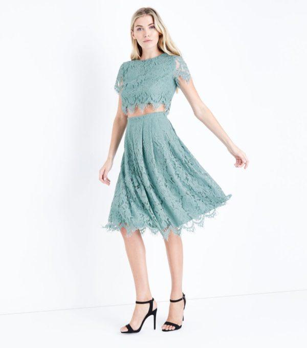 бирюзовая юбка плиссе миди