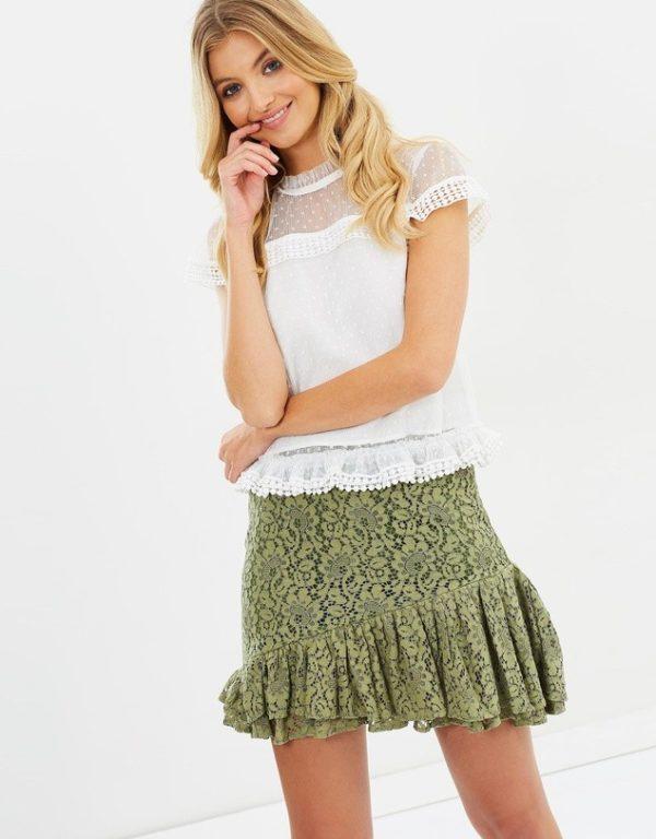 с чем носить юбку плиссе: оливковая мини