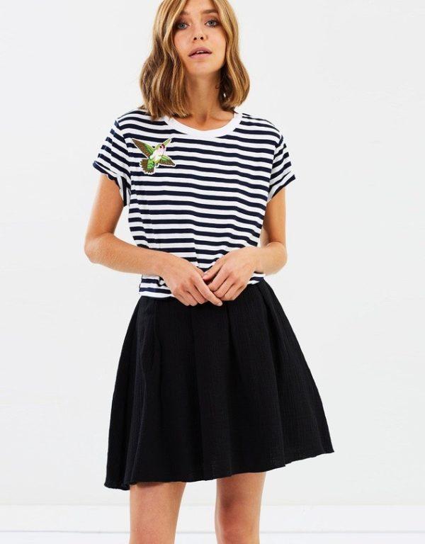 с чем носить юбку плиссе: черная мини