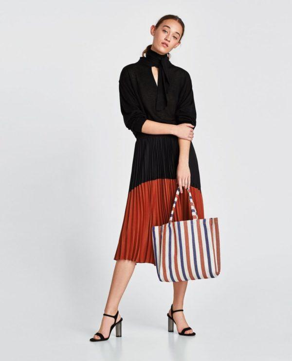 юбка плиссе с чем носить: оранжево-черная ниже колена