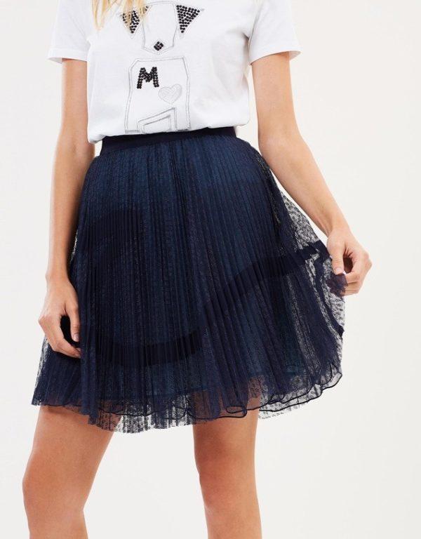 с чем носить юбку плиссе: синяя мини
