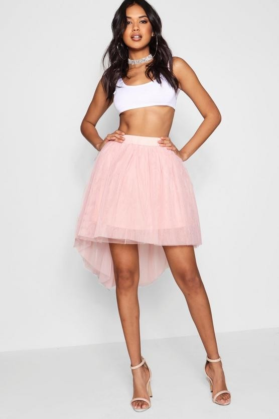 с чем носить юбку плиссе: розовая мини пышная