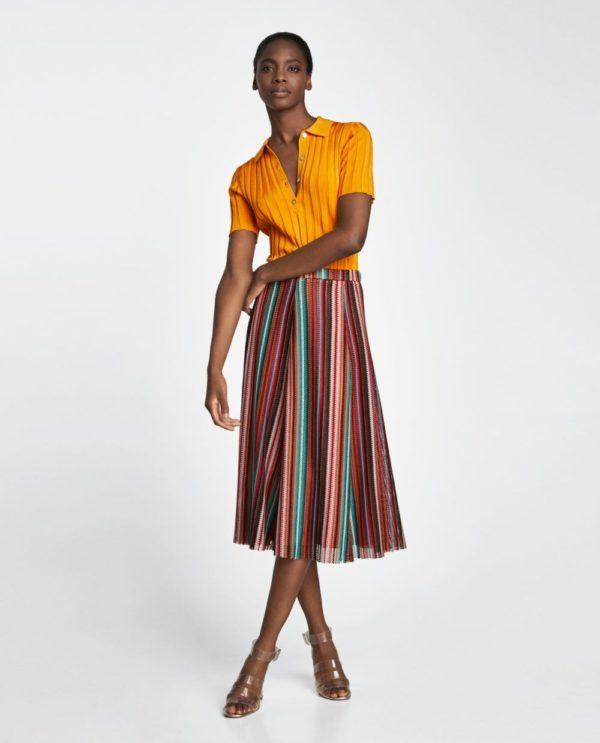 юбка плиссе с чем носить: разноцветная ниже колена