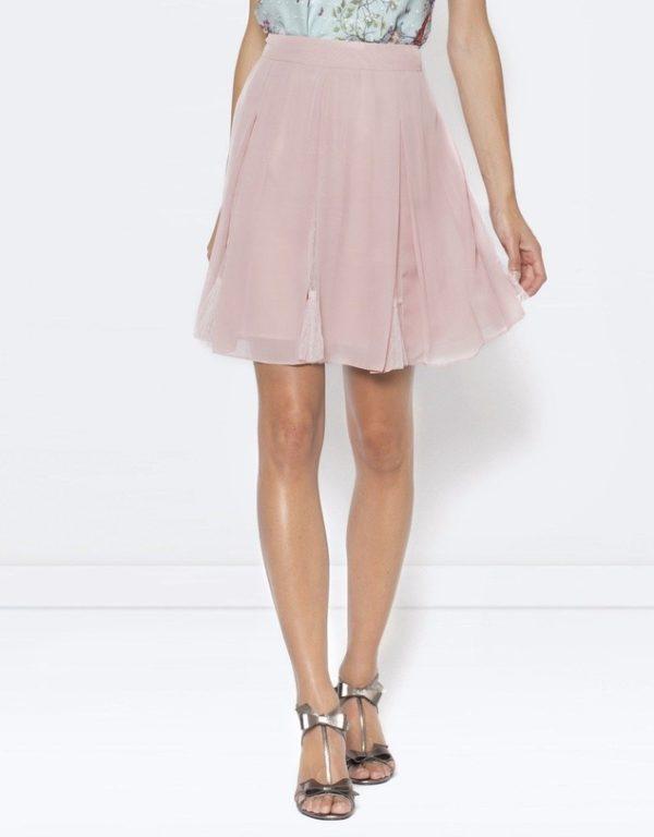 с чем носить юбку плиссе: розовая мини
