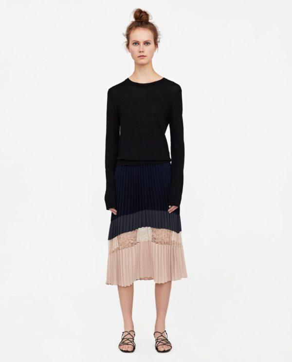 юбка плиссе с чем носить: бежево-черная