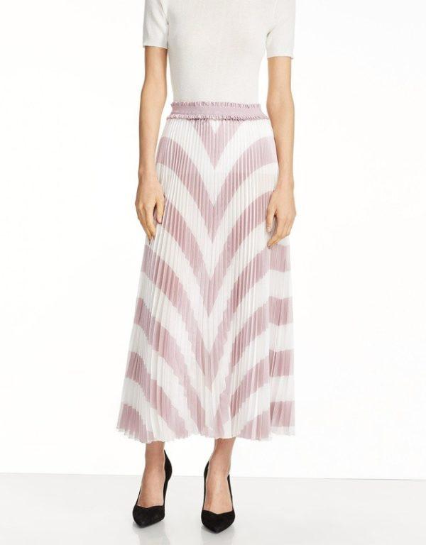 юбка плиссе с чем носить: розово-белая длинная принт елочка