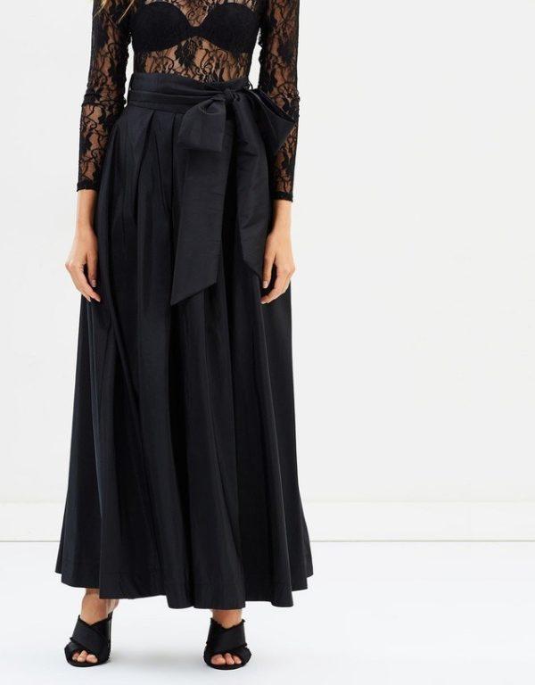 юбка плиссе с чем носить: черная длинная