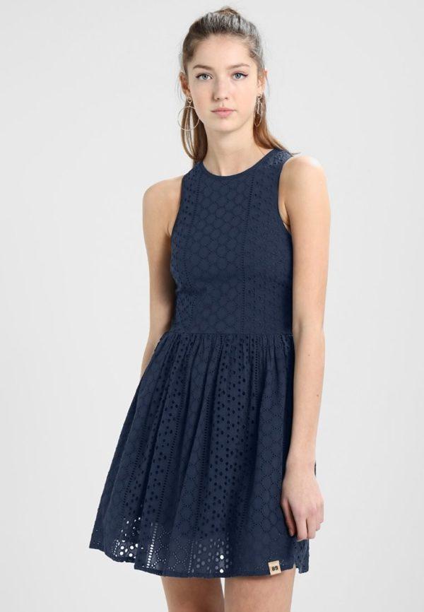 фасоны летних платьев и сарафанов: синий короткий