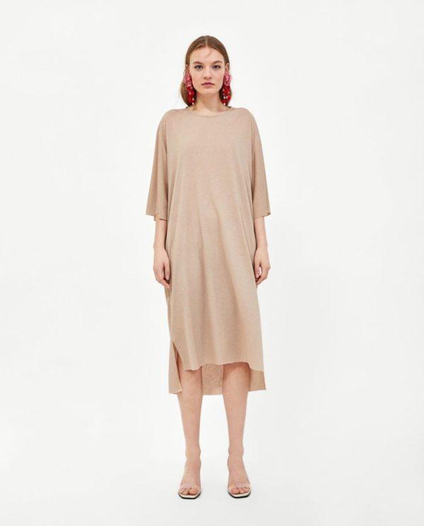 красивые летние платья и сарафаны: бежевый в пижамном стиле