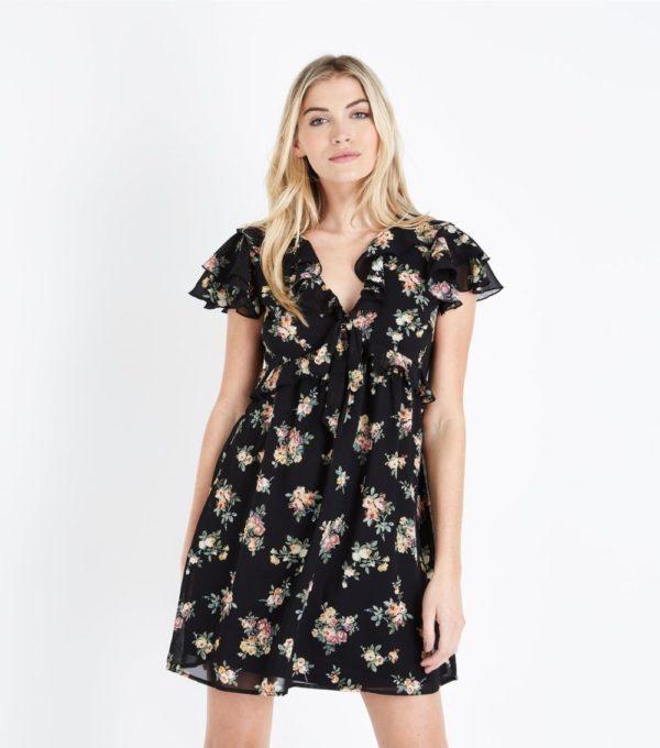 летние платья и сарафаны: черный в цветок с воланами