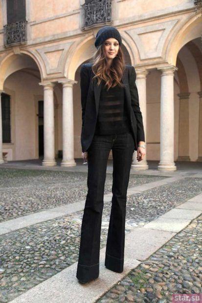 женские брюки: клеш черные