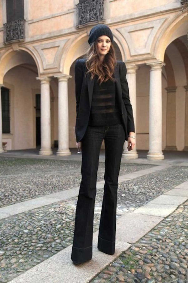 женские брюки клеш черные