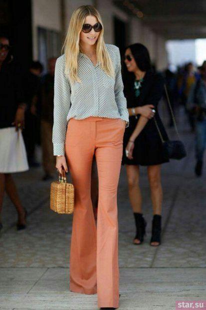 женские брюки: клеш розовые