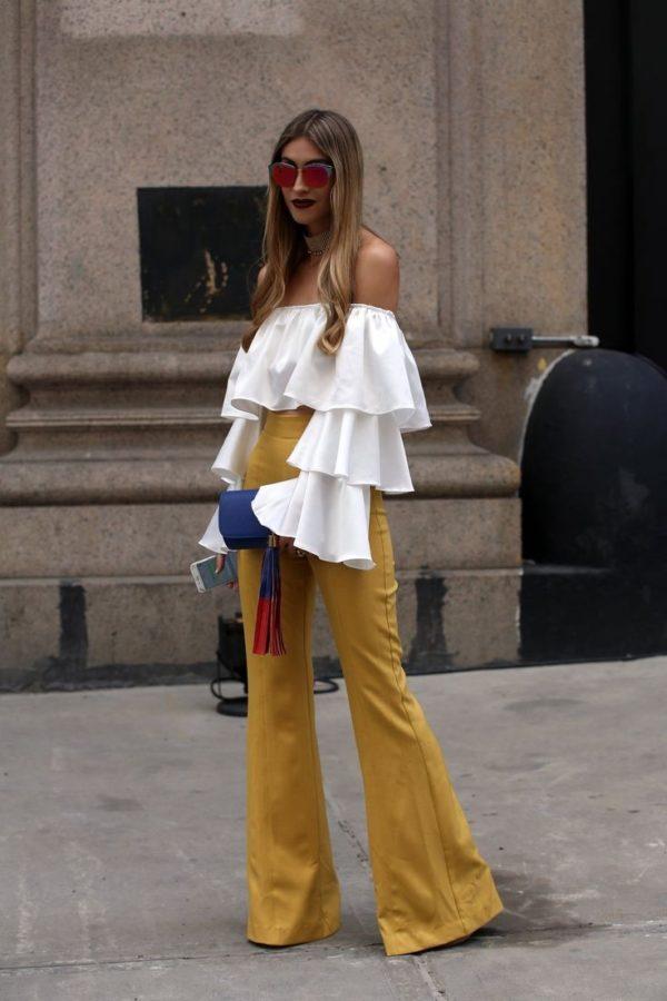 женские брюки клеш желтые