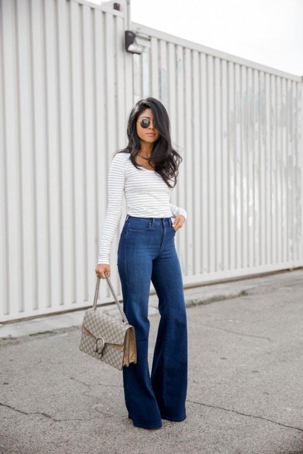 женские брюки клеш синие