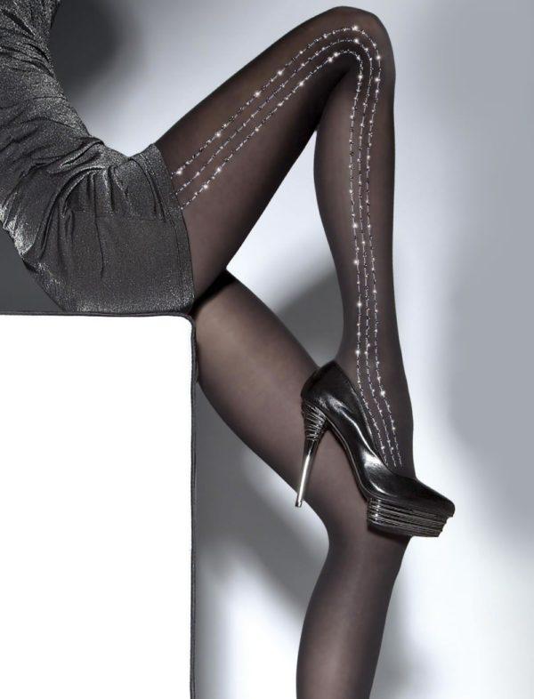 модные колготы: черные блестящие полоски