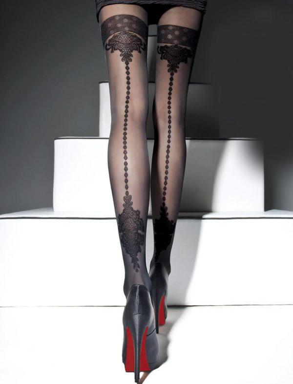 колготки: Модные черные красивый узор