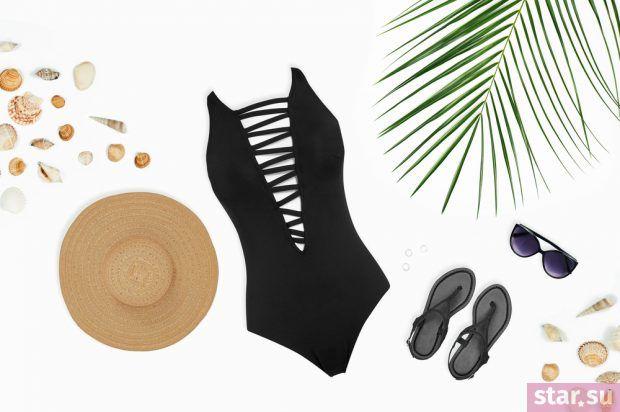 модные образы лето 2019: пляжный черный купальник