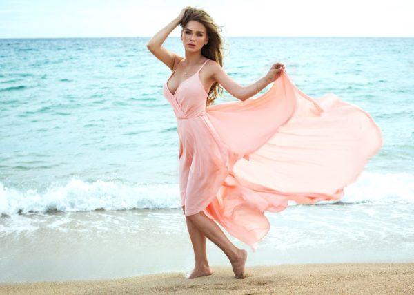 воздушное платье розовое