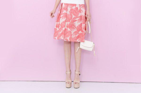 юбка миди с розовым принтом