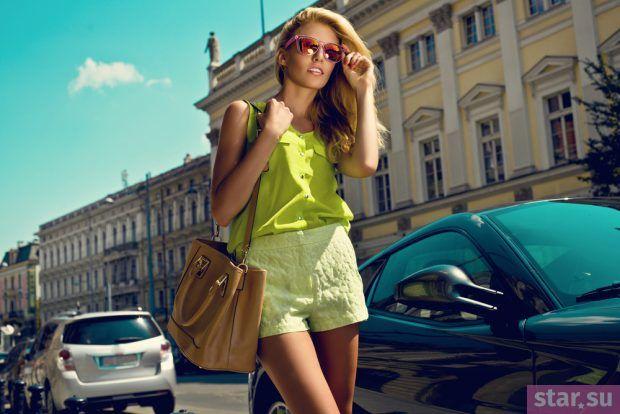 модные летние образы 2019: шорты салатовые