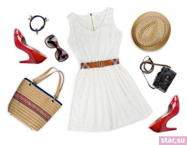 Стильные летние образы 2019: белое платье красные туфли