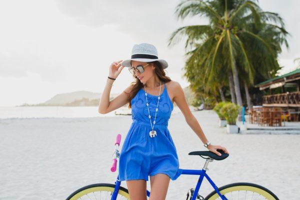 пляжный сарафан синий