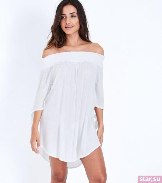 модные образы лето 2019: белое пляжное платье