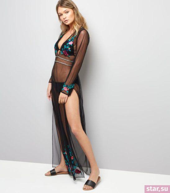 модные образы лето 2019: прозрачное платье с вышивкой