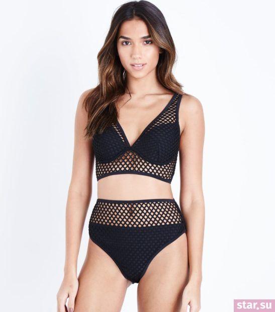 модные образы лето 2019: черный купальник