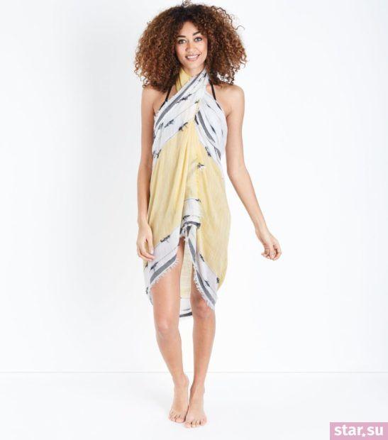 модные образы лето 2019: бело-желтое парео