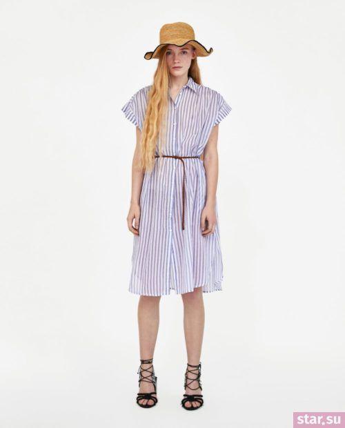 летние образы 2019 для девушек: с полосатым платьем рубашкой