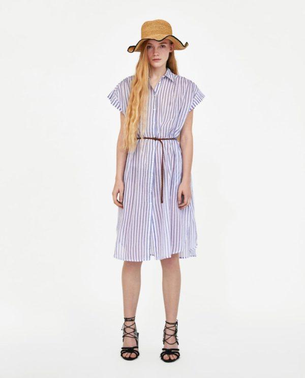 с полосатым платьем рубашкой