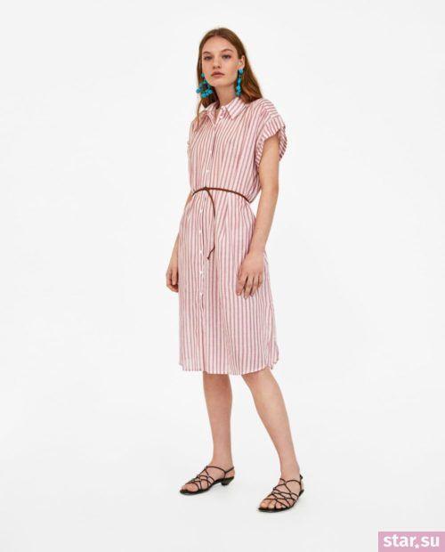 летние образы 2019 для девушек: с полосатым платьем рубашкой розовым