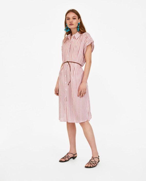 с полосатым платьем рубашкой розовым