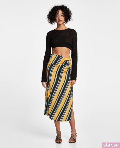 стильные образы лето 2019: с желто-черной юбкой