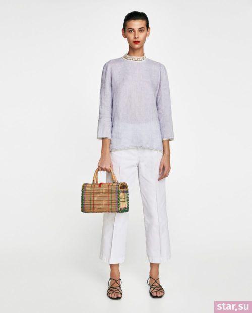 Стильные летние образы 2019: белые брюки и легкая кофта