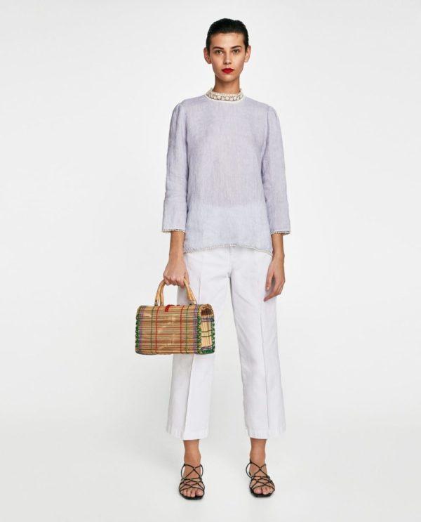 летние образы 2021: белые брюки и легкая кофта