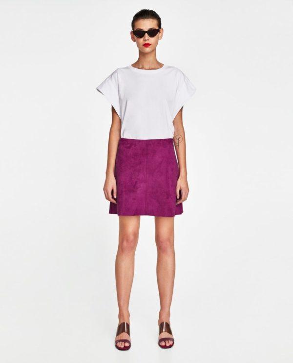 с фиолетовой юбкой короткой