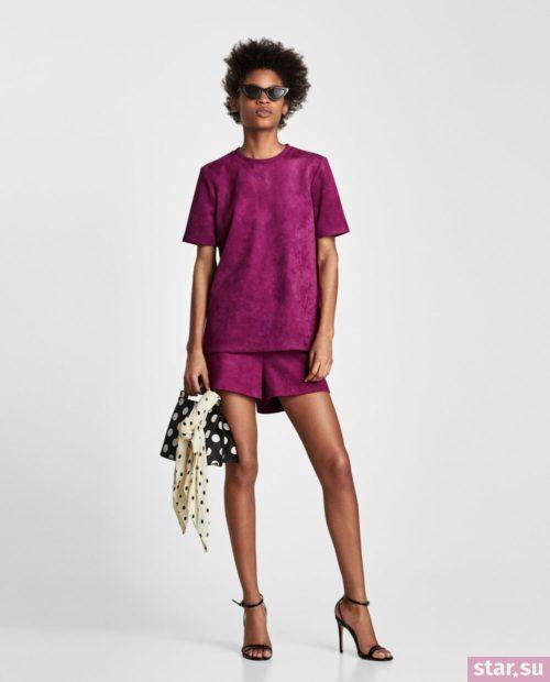модные летние образы 2019: с фиолетовыми шортами