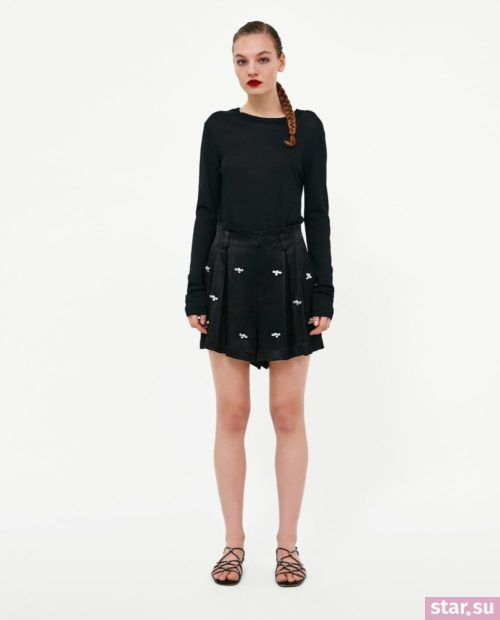 модные летние образы 2019: с черными шортами