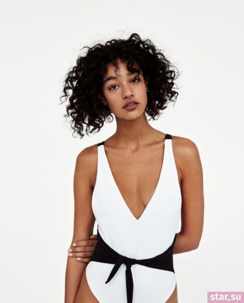 модные образы лето 2019: белый купальник с черным поясом
