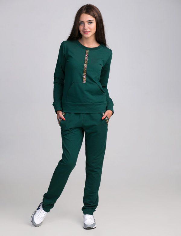 спортивный костюм женский модный: зеленый со стразами